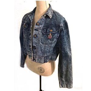 Vintage acid washed cropped Lee denim jean jacket